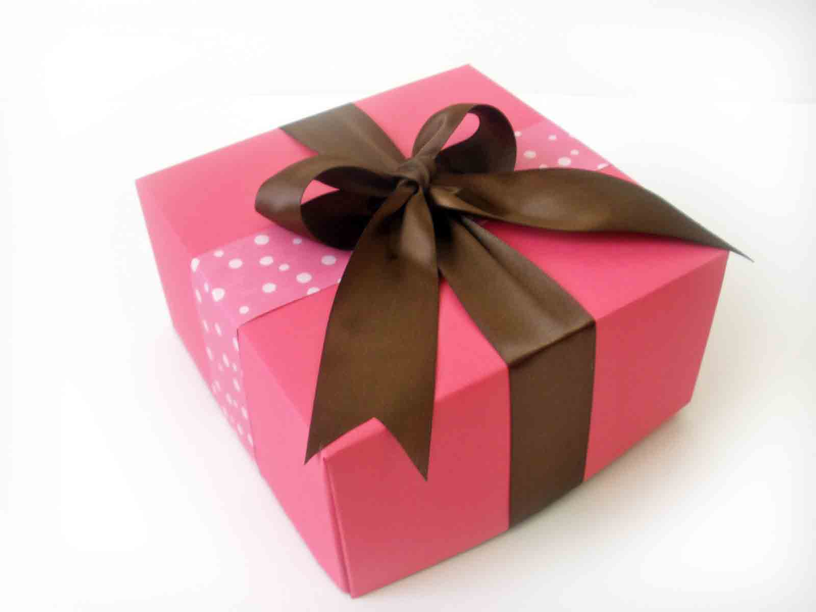 pink and brown gift